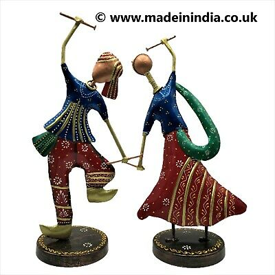Indian Handmade Metal Multi-Coloured Statues Of Dancing Couple • 25.99£