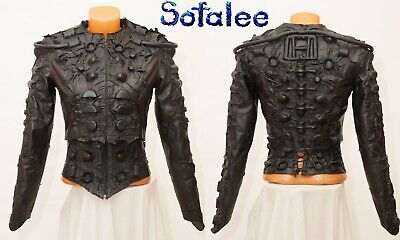 $ CDN748.33 • Buy Genuine Leather Bolero Corset Long Sleeves Handmade Black Cyberpunk Jacket XS