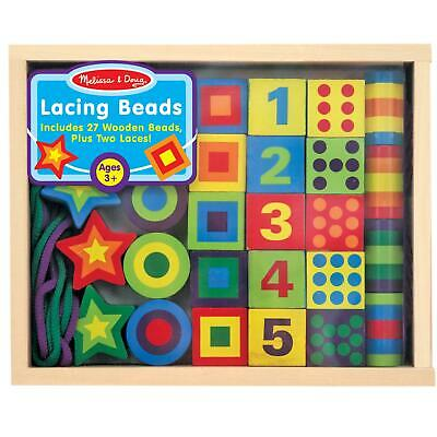 Melissa & Doug Lacing Beads In A Wooden Storage Box, Kids Crafts, Ages 3 Years + • 13.31£