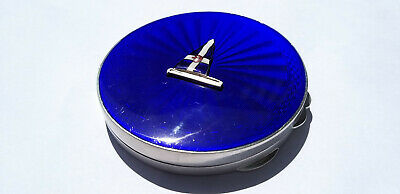 Solid Silver Guilloche Enamel Compact Case John William Barrett, Birmingham,1956 • 129£