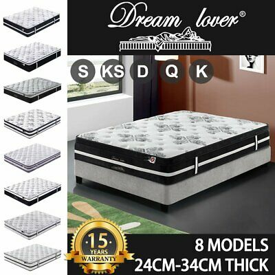 AU255 • Buy Mattress Queen Double King Single Bed Memory Foam Pocket Spring Euro TOP