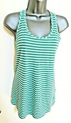 Vest Top Stretch 14 Helly Hansen Y Back Green Stripe Sporty Summer Sleeveless   • 10.49£