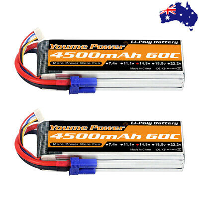 AU99.90 • Buy 2x Youme 4S 4500mAh LiPo Battery 14.8V 60C For RC Helicopter Truck Boat Car EC5