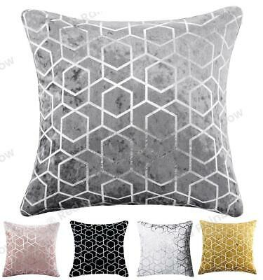 £4.99 • Buy Metallic Geometric Luxury Crushed Velvet Silver Sparkle Cushion Cover In 3 Sizes