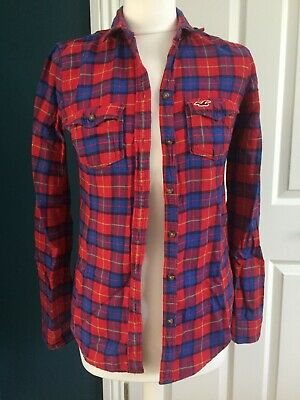 £6.49 • Buy Ladies Hollister XS Red Check 100%cotton Shirt