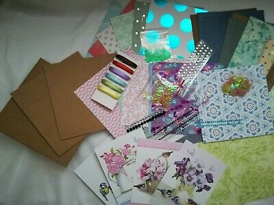 *craft Clearance*400+ Items, Scrapbook Kit Random Cards, Gems, Embellishments • 5.99£
