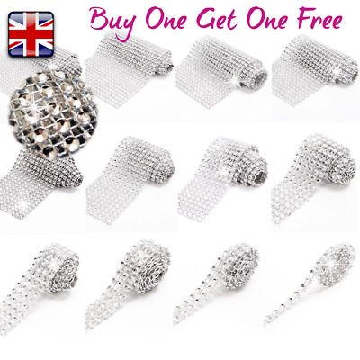 Quality SILVER Bling Diamante Sparkling Diamond Effect Wedding Cake Ribbon Mesh • 1.90£