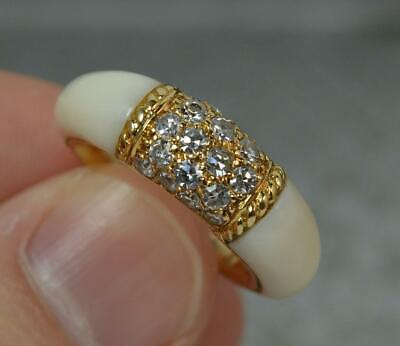 VAN CLEEF & ARPELS 18ct Gold White Coral & Diamond Cluster Ring D0314 • 2,675£