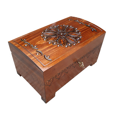 Wooden Large Red Jewellery Chest In Brown Color Lock And Key • 44.99£