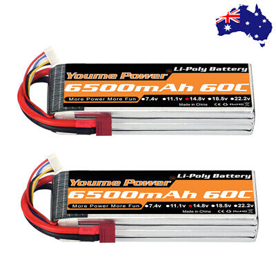 AU126.90 • Buy 2x Youme 6500mAh 4S 14.8V 60C LiPo Battery For Airplane Quadcopter RC Drone Car
