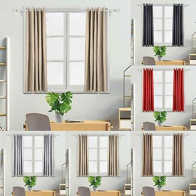 Thick Thermal Blackout Ready Made Eyelet Ring Top Pair Curtains Panel +Tie Backs • 15.89£
