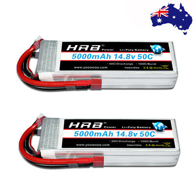 AU140.84 • Buy 2x HRB 4S 5000mAh 14.8V LiPo Battery 50C For RC Helicopter Drone Truck Boat FPV
