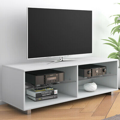 Modern 120cm TV Stand Wood TV Cabinet Unit Glass Shelves White MDF Entertainment • 39.99£