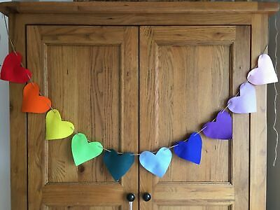 250CM Rainbow Heart Baby Shower Party BANNER Decorations Felt Bunting • 3.98£
