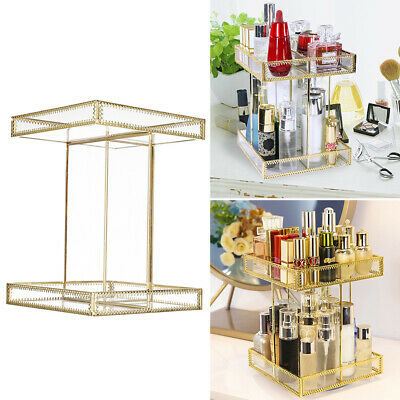 Glass 360°Rotation Make Up Organiser Cosmetic Case Storage Display Stand Rack UK • 20.95£