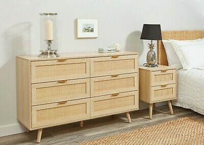 Light Rattan Bedroom Furniture Wood Bedside Table Cabinet Chest Of Drawers • 59.99£