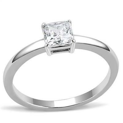 Ladies Solitaire Ring Princess Square Cz Stainless Steel Silver 3/4 Carat Size R • 9.99£