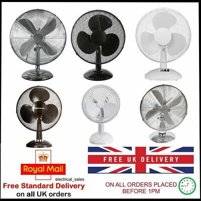 Desk Fan 6  9  12  16  Inch 2 & 3 Speed Oscillating Electric Portable Cooling   • 13.99£