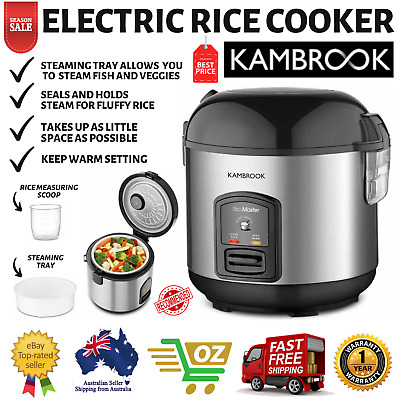 AU71.93 • Buy Kambrook Compact Electric Rice Cooker + Food Steamer Tray Stainless Steel