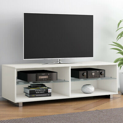 Modern TV Stand TV Cabinet Entertainment Unit Glass Shelves Storage Lowboard • 39.99£
