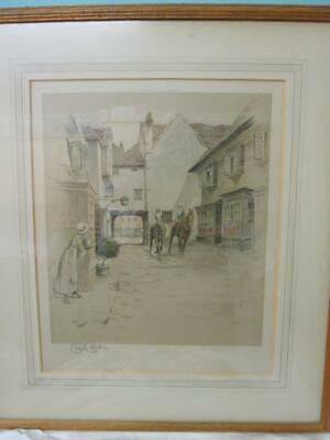 £75 • Buy Cecil Aldin Chromolithograph Old English Inns  The Golden Cross  Oxford Signed