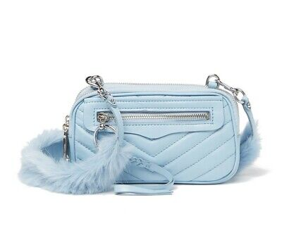 $ CDN104.12 • Buy REBECCA MINKOFF Quilted Chevron Faux Fur Guitar Strap Leather Crossbody Bag Blue
