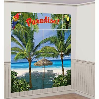 PARADISE LUAU SCENE SETTER Party Wall Decoration Beach Palm Trees Backdrop Ocean • 7.08£