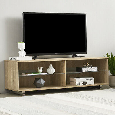 Modern 120cm OAK TV Stand Wooden Cabinet Unit Glass Shelves Suit For Up To 49  • 39.99£