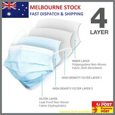AU6.99 • Buy 10 X 4 Layer Waterproof Filter Protective Disposal CE Cert FACE MASK