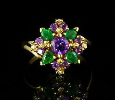 Signed Fine Natural Amethyst Colombian Emerald & Diamond 18k Gold Cluster Ring • 914.31£
