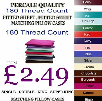 £6.49 • Buy Fitted Bed Sheet T180 Thread Count Percale Single Double King 4FT OR Pillowcases