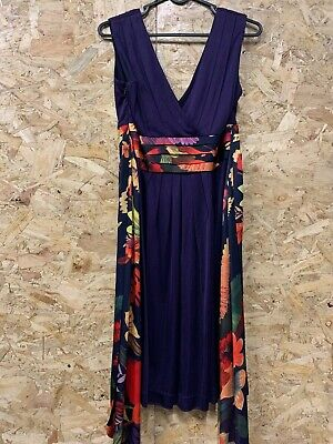 Ted Baker Colourful Summer Maxi Stretch Dress Floral Size 1 UK 8 Full Length  • 29.99£