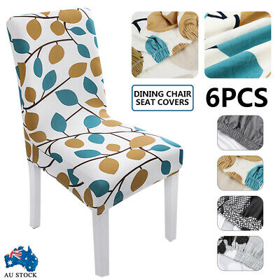 AU14.99 • Buy 6PCS Dining Chair Seat Covers Slip Stretch Wedding Banquet Party Removable