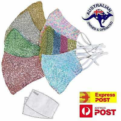 AU16.95 • Buy Washable Sequin Face Mask Sparkle Bling Mouth Reusable Cotton N95 KN95 Masks
