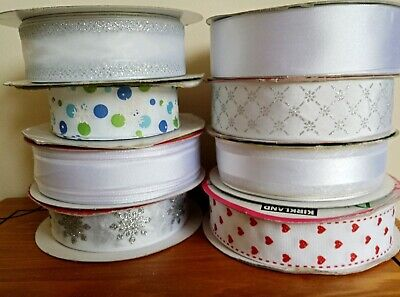 WHITE 8 Designs Christmas  Luxury  Quality Wire Edged Ribbon 1.5  Wide 38mm • 0.99£