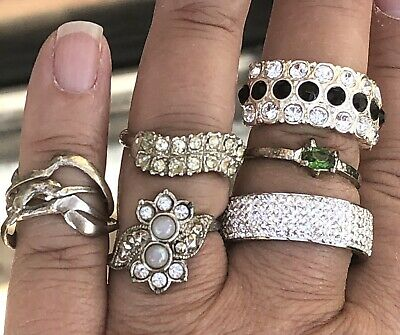 $ CDN26.35 • Buy Vintage Ring Lot Pave Rhinestones Silver Tone Rings Puzzle Ring Sizes 3 - 11