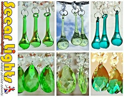£34.99 • Buy Oval Orb Chandelier Green Glass Crystals Drops Beads Droplets Light Spare Parts
