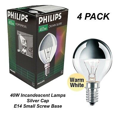 4 X 40W Silver Cap Light Globes Bulbs Lamps E14 Small Screw Fancy Round Crown • 15.72£