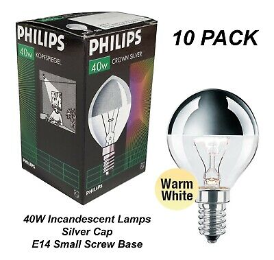 10 X 40W Silver Cap Light Globes Bulbs Lamps E14 Small Screw Fancy Round Crown • 32.55£