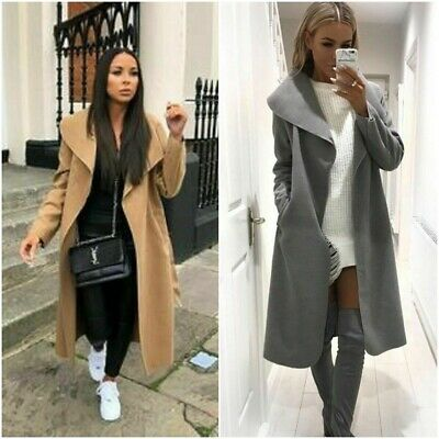 Women Italian Long Duster Jacket Ladies French Belted Trench Waterfall Coat • 14.90£