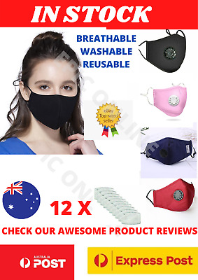 AU11.99 • Buy Washable Face Mask Mouth Reusable Anti Pollution Cotton Masks PM 2.5 Filter
