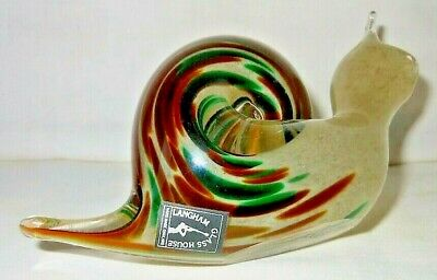 Langham Glass, Green, Brown Swirl Glass Large Snail Paperweight, Etched + Label • 19.99£