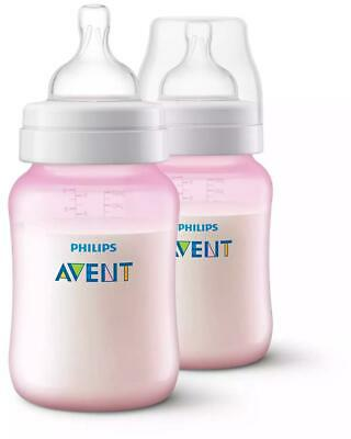 AU26.94 • Buy Philips Avent Anti-Colic Feeding Bottle, Twin Pack (Pink) - 260mL Philips Avent