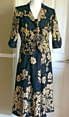 Black And Beige Floral & Embroidered Smart Occasion/Wedding  Dress And Jacket 18 • 38.99£