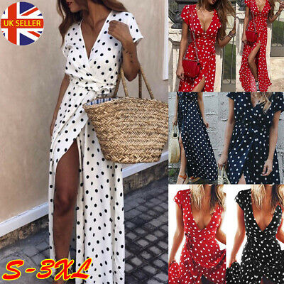 UK Women Polka Dot Maxi Wrap Dress Ladies Summer Holiday V Neck Party Prom Gown • 11.16£