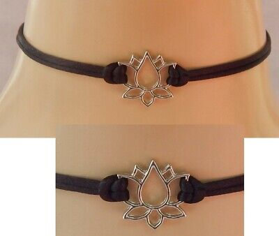 $ CDN14.46 • Buy Lotus Flower Choker Necklace Handmade Silver Black Fashion NEW Collar Women Boho