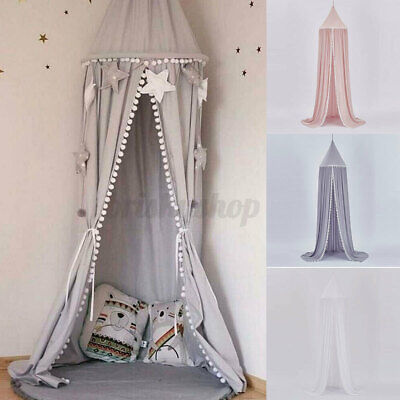 Kids Baby Bed Canopy Tent Bedcover Mosquito Net Curtain Girls Princess Pink UK • 18.58£