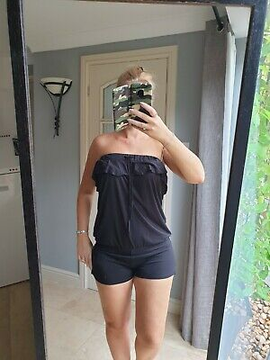 Size 8 Playsuit Black Shorts Strapless Bandeau George  • 5.99£