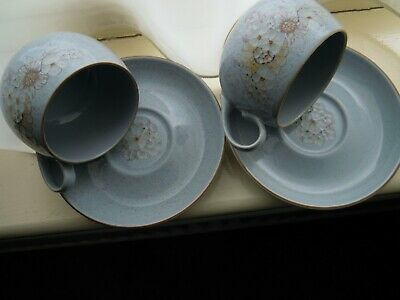 Pair Denby **reflections** Grey Blue Tea Cups&saucers New&unused***please Read** • 10£