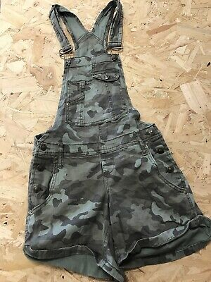 Girls Dungarees Shorts Age 10 To 11 Years LEI Camouflage Denim B1076 • 7.99£